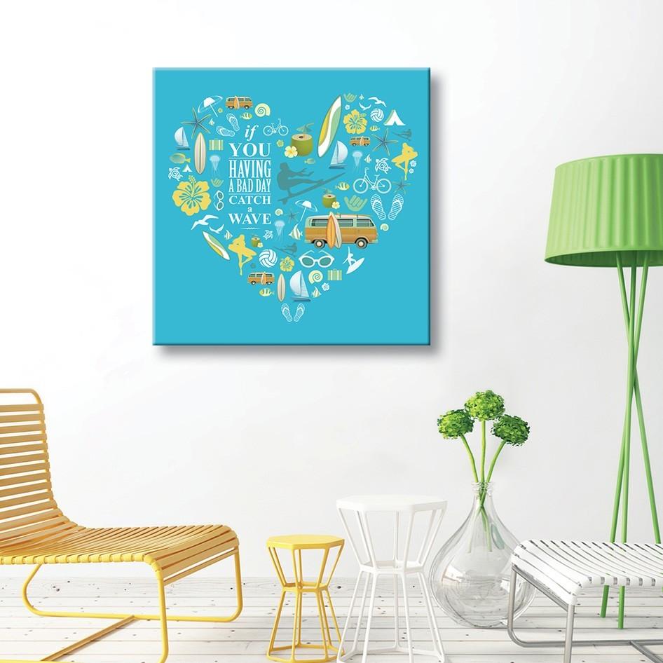tableau toile surf illustrations vintages coeur bleu vertikale d. Black Bedroom Furniture Sets. Home Design Ideas