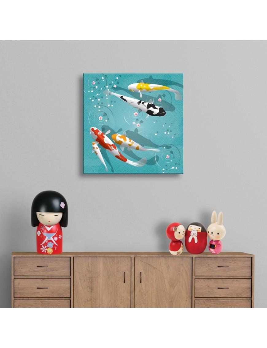tableau toile enfant illustration carpes koi asiatiques. Black Bedroom Furniture Sets. Home Design Ideas