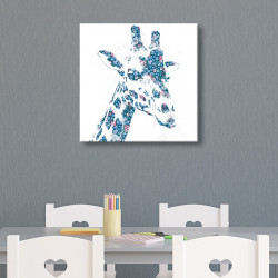 tableau-toile-girafe-fleurie