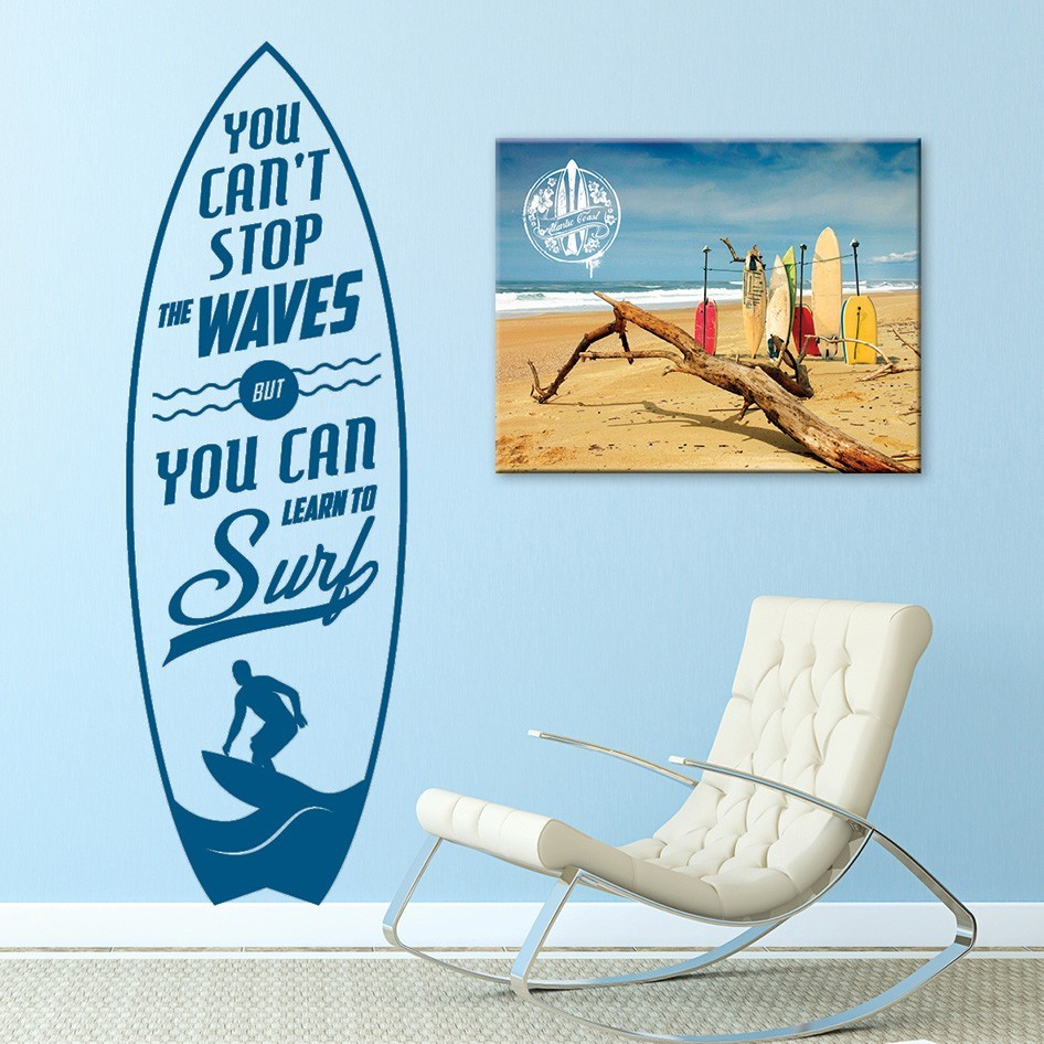 Deco Planche De Surf sticker déco planche de surf et citation learn to surf