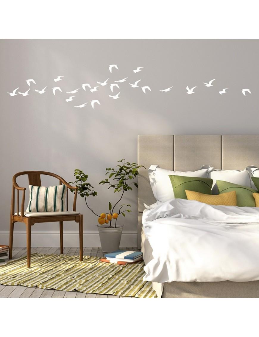 Autocollant mural envol e d 39 oiseaux vertikale d coration for Autocollant decoration murale