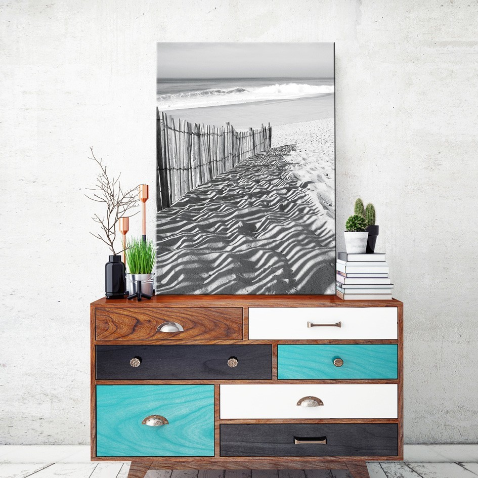 tableau toile sud ouest oc an noir blanc vertikale d coration m. Black Bedroom Furniture Sets. Home Design Ideas
