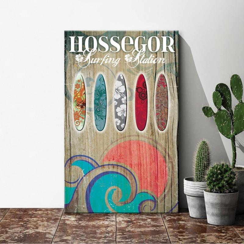 Tableau Toile Vintage Hossegor Surfing Station