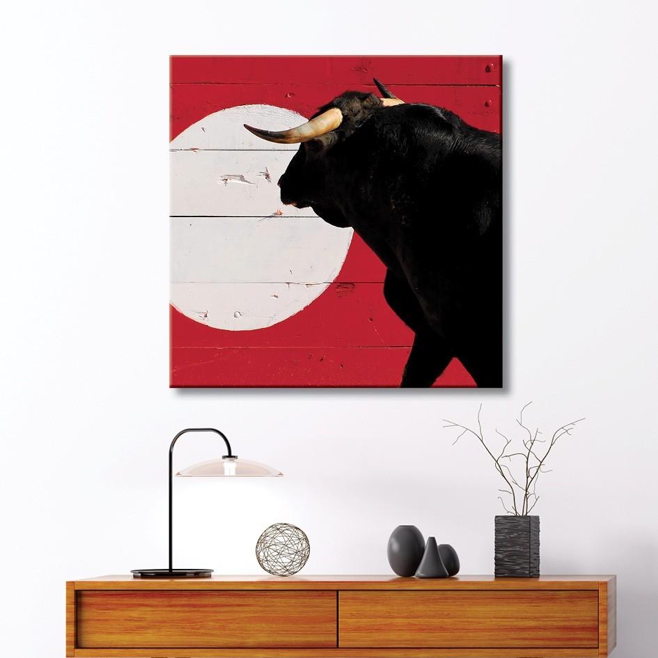 toile corrida taureau et talanqu re vertikale d coration murale. Black Bedroom Furniture Sets. Home Design Ideas