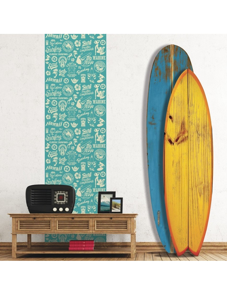 papier peint surf vintage r tro. Black Bedroom Furniture Sets. Home Design Ideas