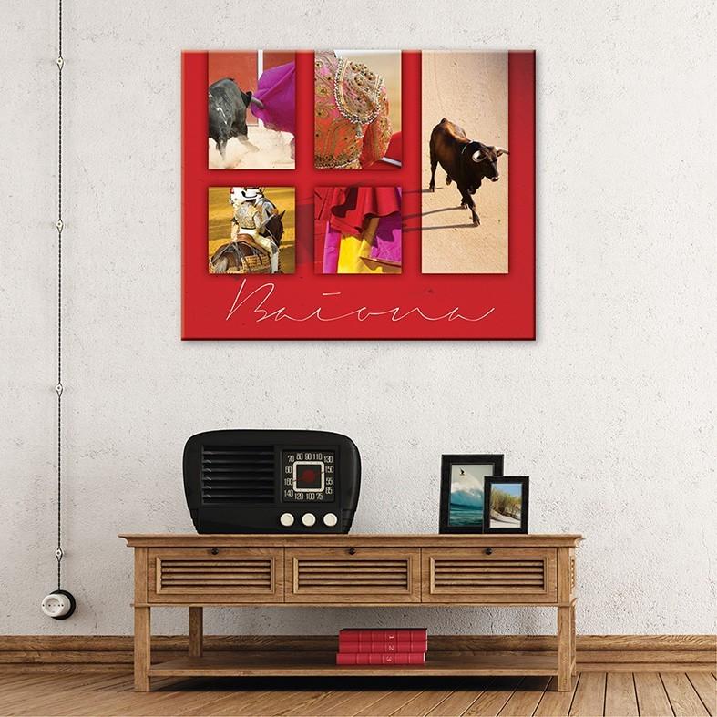 Tableau toile corrida montage fond rouge vertikale - Decoration murale rouge ...