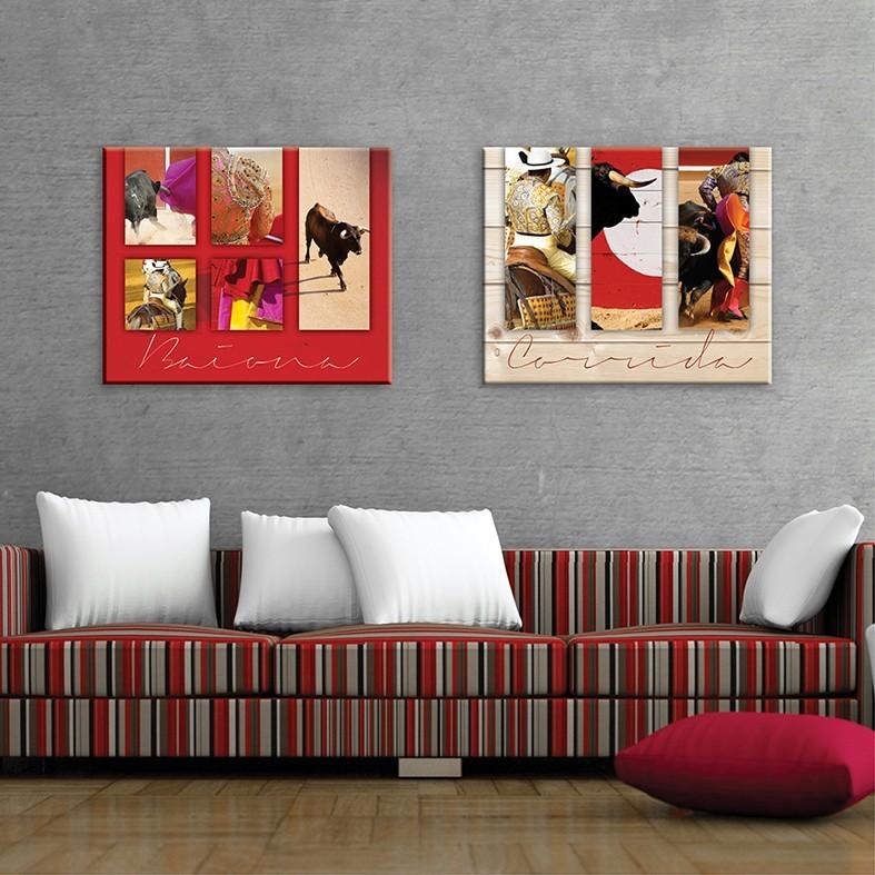 tableau toile tauromachie fond effet bois vertikale d coration mu. Black Bedroom Furniture Sets. Home Design Ideas