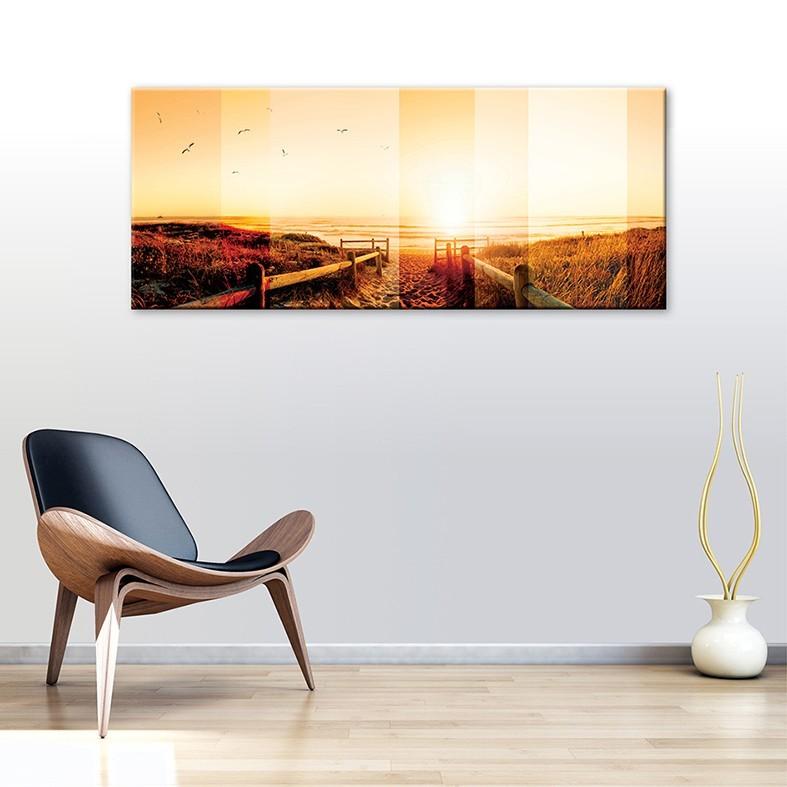 tableau toile coucher de soleil sur l 39 oc an vertikale d coration. Black Bedroom Furniture Sets. Home Design Ideas
