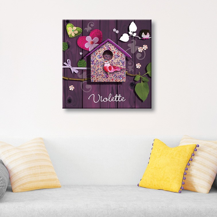 tableau toile enfant maison fleurie et oiseau bois violet. Black Bedroom Furniture Sets. Home Design Ideas