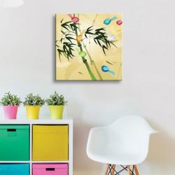 tableau-toile-enfant-bambou-oiseaux-multicolores