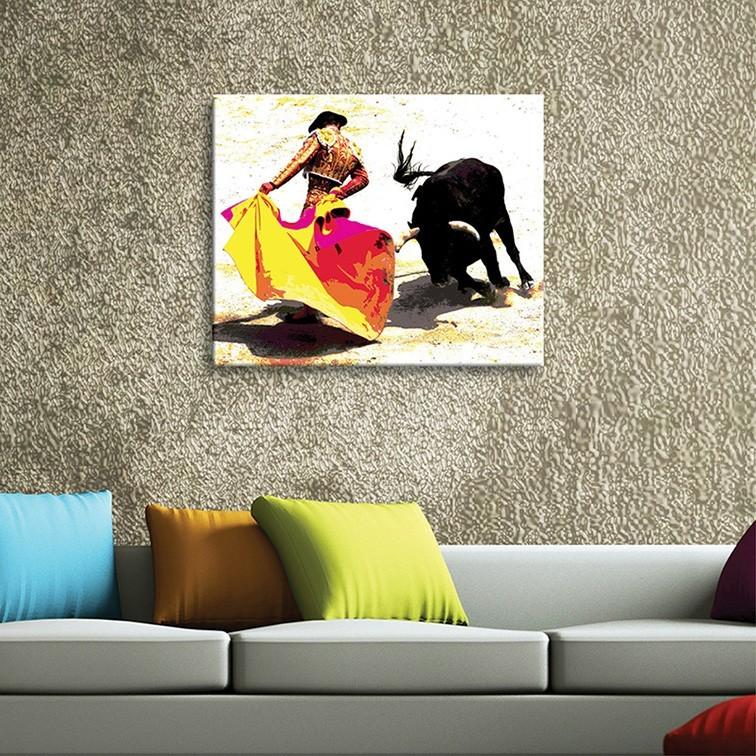 Tableau toile photo corrida pop 39 art vertikale d coration - Toile tendue murale deco ...