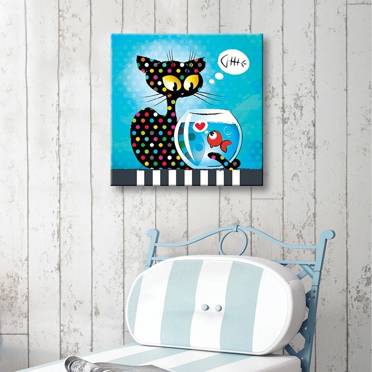 tableau toile enfant chat et poisson vertikale d coration murale. Black Bedroom Furniture Sets. Home Design Ideas