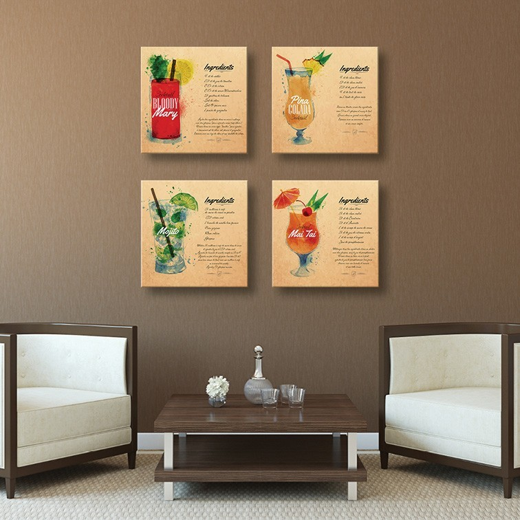 Tableau toile cocktail aquarelle bloody mary vertikale for Decoration murale tableau quebec