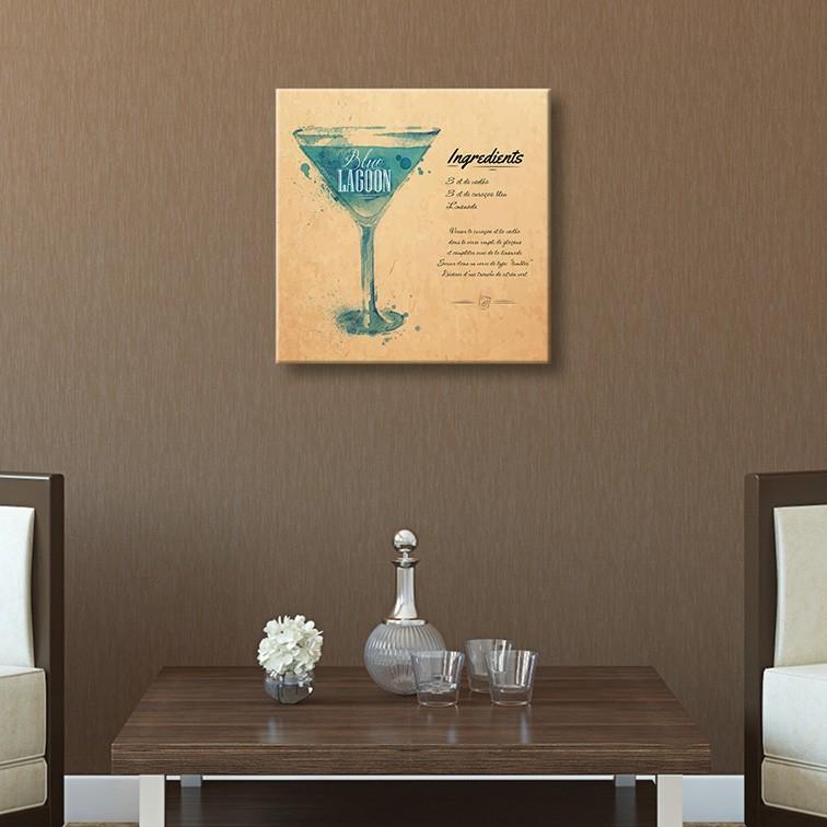 Tableau toile cocktail blue lagoon recette vertikale for Toile decoration murale quebec