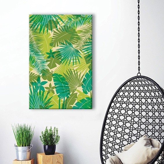 tableau toile motif jungle tropicale vertikale d coration murale. Black Bedroom Furniture Sets. Home Design Ideas