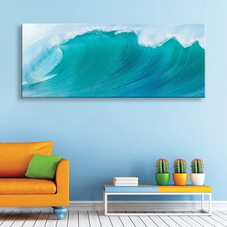 tableau toile panoramique vague bleue vertikale d coration murale. Black Bedroom Furniture Sets. Home Design Ideas
