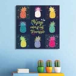 tableau-toile-illustré-ananas-multicolores-keep-calm