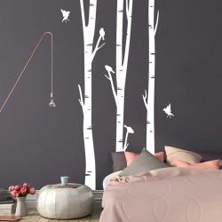 autocollant-mural-forêt-et-oiseaux
