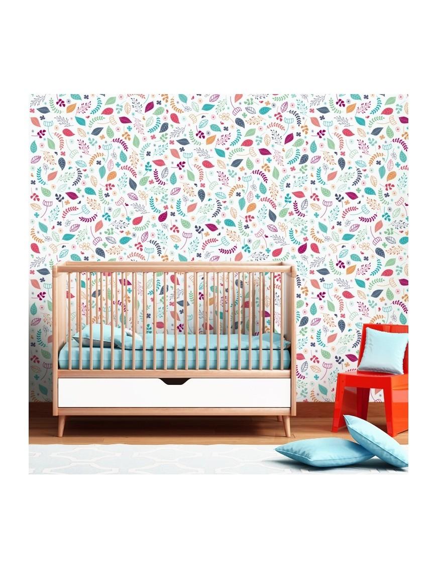 Papier Peint Enfant Nature Feuillage Colore Vertikale Decoration