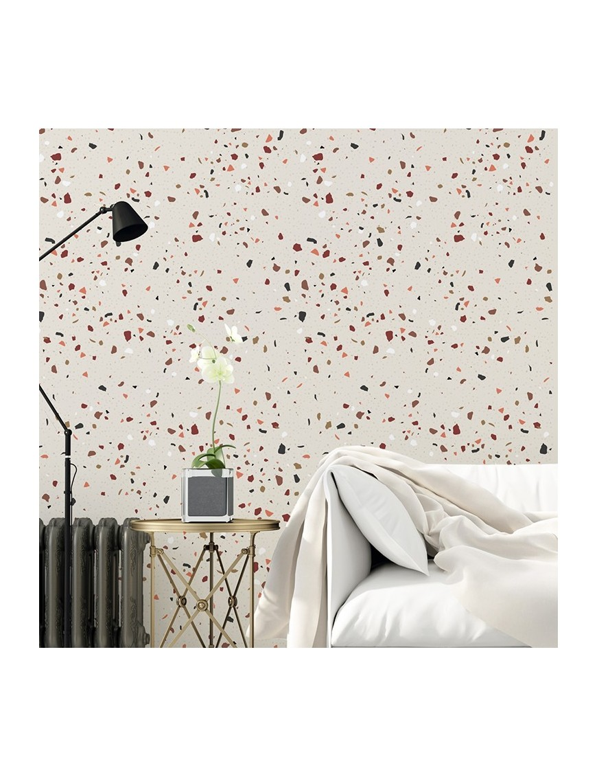 papier peint motif terrazzo fragments de pierre. Black Bedroom Furniture Sets. Home Design Ideas