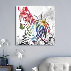 tableau-alu-zèbre-multicolore-moderne
