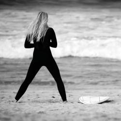Tableau Déco Surfer Girl Noir et Blanc