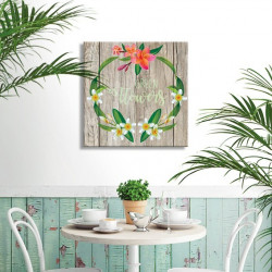 tableau-deco-tropical-green-flowers