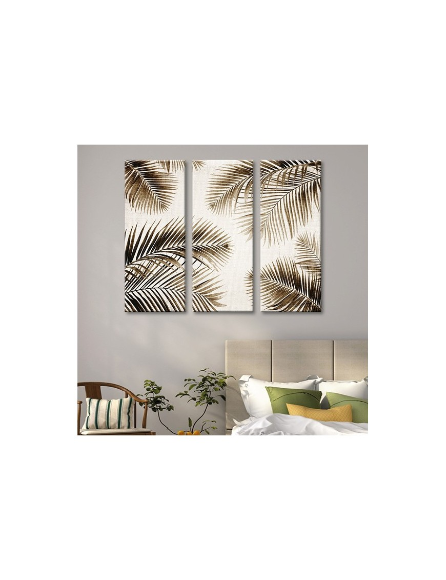 tableau toile triptyque feuilles de palmier