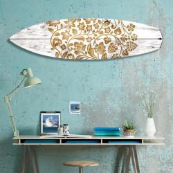 surfboard-deco-bois-blanchi-motifs-dorés-fleuris