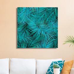 tableau-deco-feuilles-de-palmier-bleues