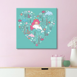 tableau-toile-coeur-sirène-aquatique