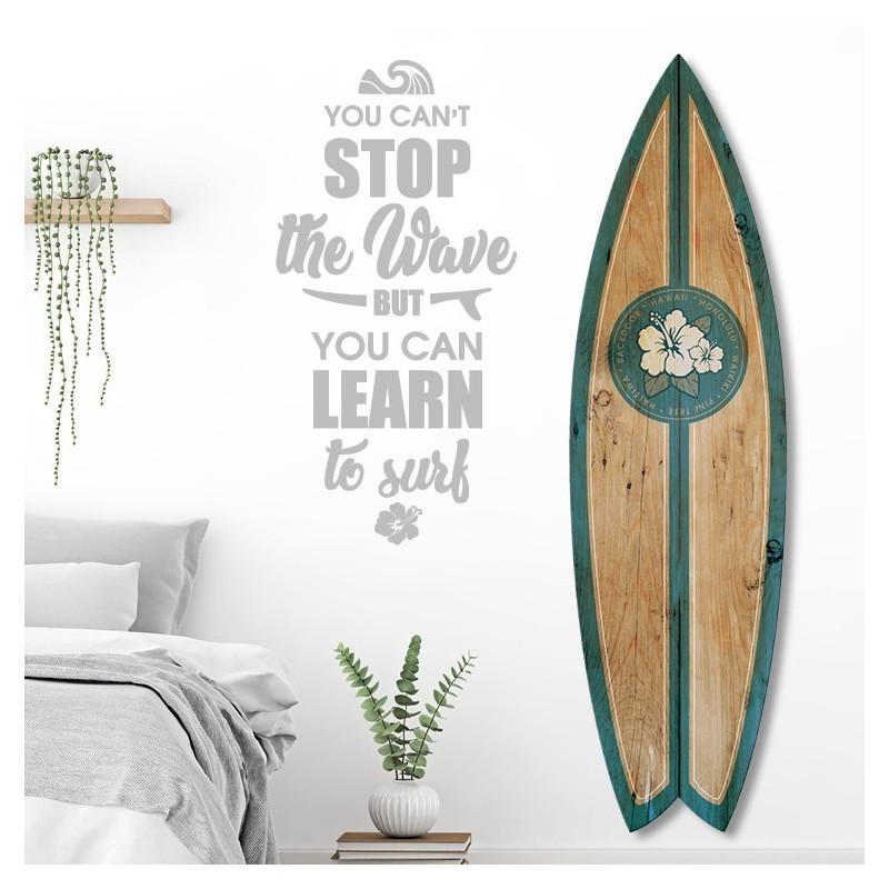 Planche de Surf Alu Effet Bois Motif Hawaï