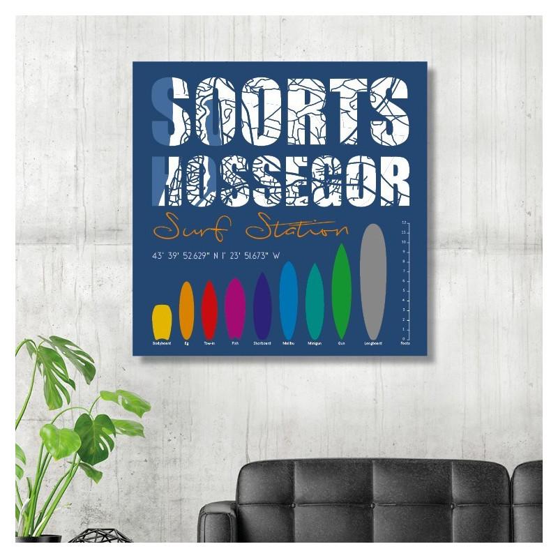 Tableau Déco Soorts Hossegor Surf Station Bleu