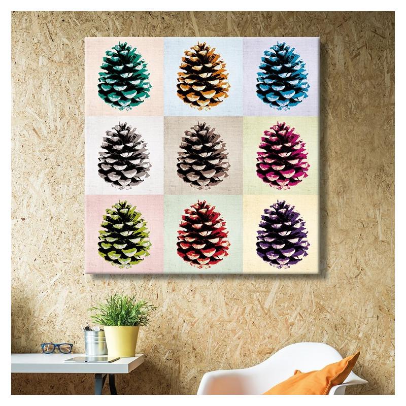 Tableau Toile Pommes de Pin Pop'Art Pastel