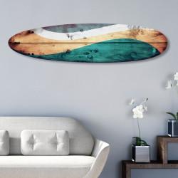 Forme décorative Surfboard Aluminium effet bois rétro