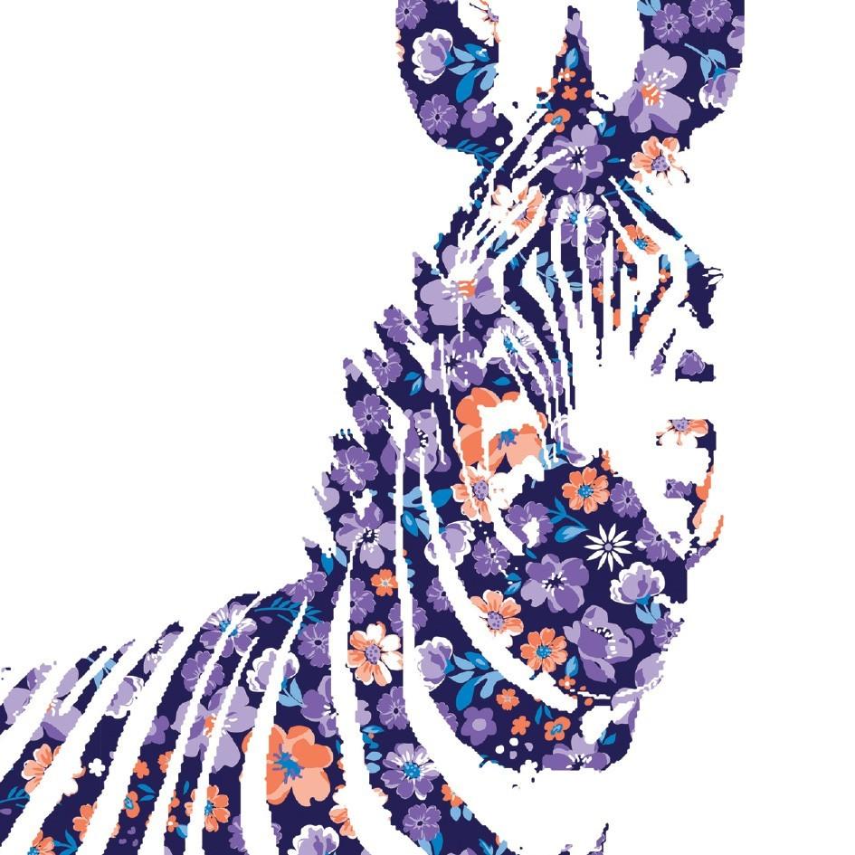 Tableau toile animaux z bre fleurs vertikale for Decoration murale zebre