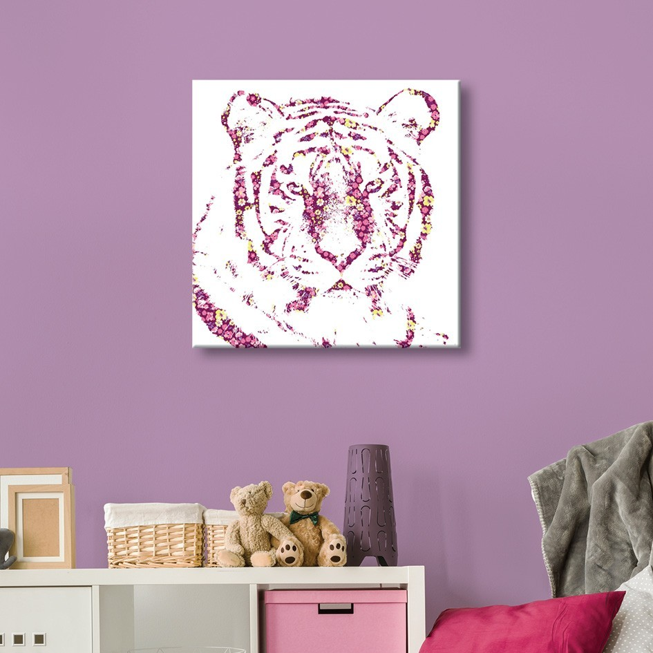 Tableau toile animaux tigre fleurs vertikale for Toile decoration murale quebec